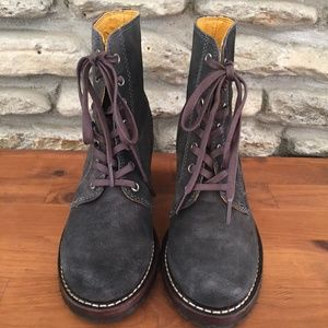 Frye Shoes - FRYE Sabrina 6G Lace Up Gray Suede Ankle Boots